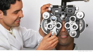 A man getting his eyes examined