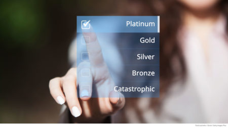 Woman choosing platinum plan option